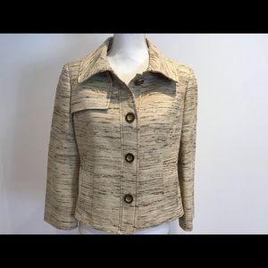 CARLISLE neutral tweed blazer jacket SZ 6 NWOT